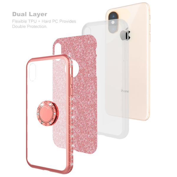 apple iphone xs glitter bling fashion 3 in 1 case - rose gold - www.coverlabusa.com