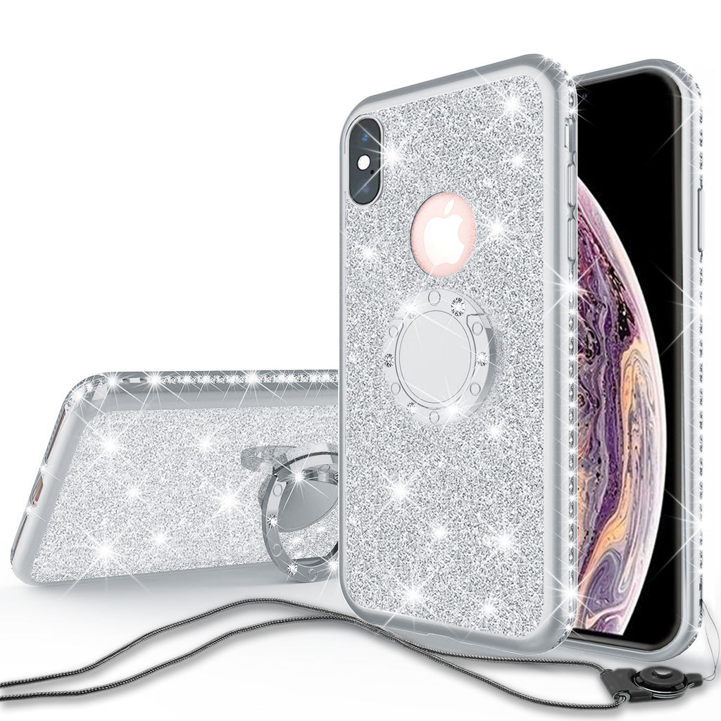 newest b5e35 0e883 Glitter Cute Phone Case Girls Kickstand Compatible for Apple iPhone X /  iPhone XS Case,Bling Diamond Bumper Ring Stand Soft Sparkly iPhone X /  iPhone ...