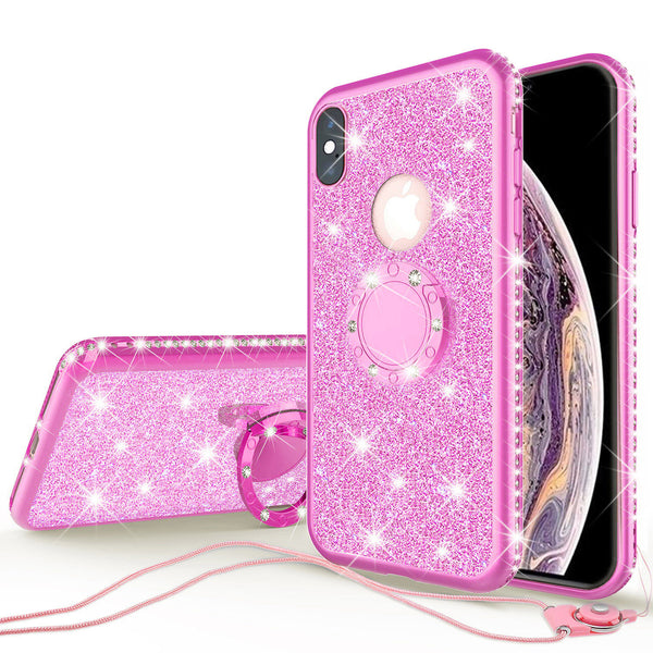 apple iphone xs max glitter bling fashion 3 in 1 case - hot pink - www.coverlabusa.com
