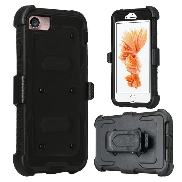 iPhone 8 case, iPhone 8 holster shell combo | heavy duty with screen protector - black - www.coverlabusa.com
