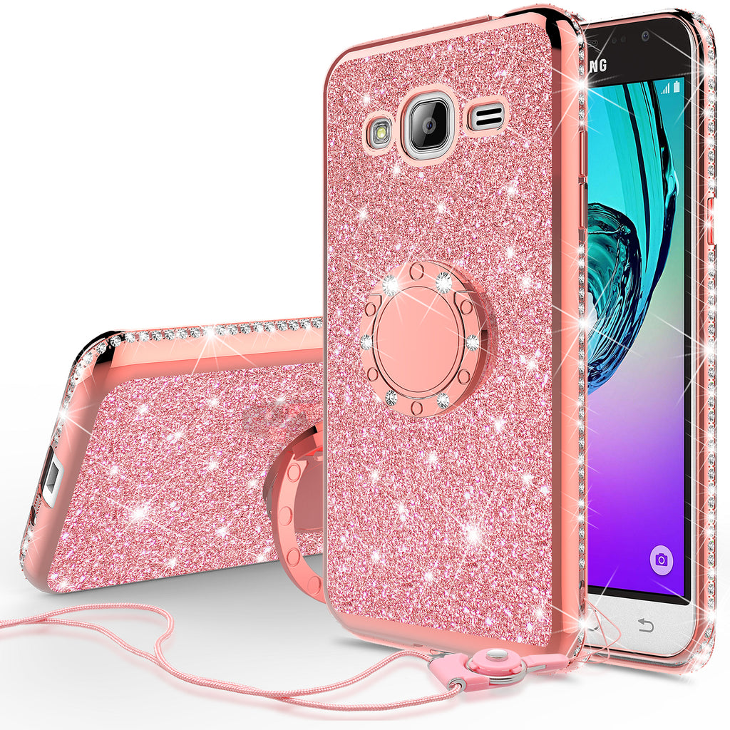 wholesale dealer 20b33 00dd1 Samsung Galaxy J3, Galaxy J3 V Case, Glitter Cute Phone Case Girls with  Kickstand,Bling Diamond Rhinestone Bumper Ring Stand Sparkly Luxury Clear  Thin ...