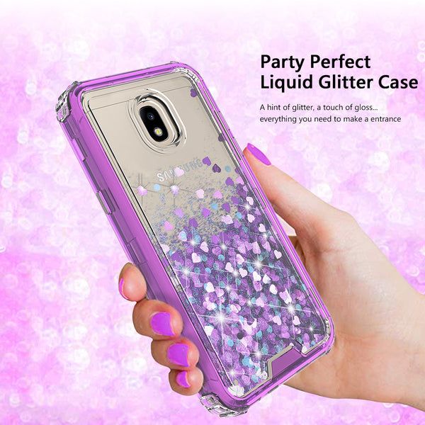hard clear glitter phone case for samsung galaxy j7 2018 - purple - www.coverlabusa.com