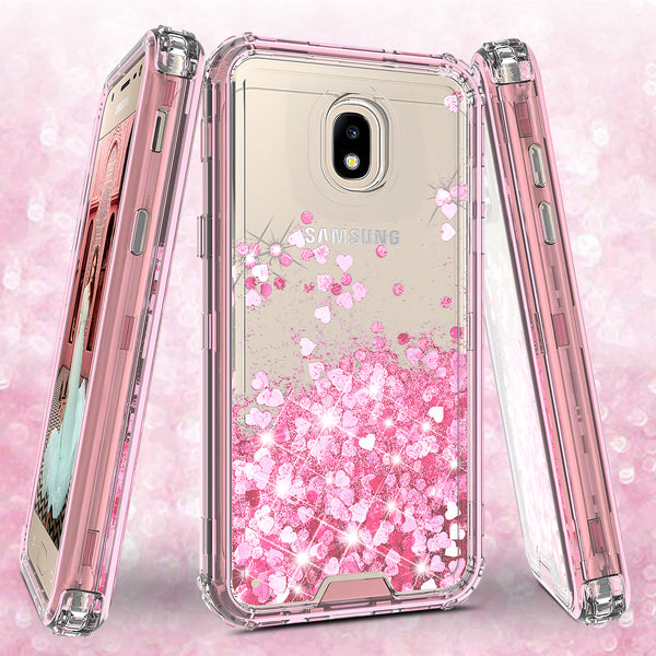 hard clear glitter phone case for samsung galaxy j3 2018 - pink - www.coverlabusa.com