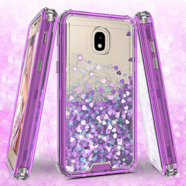 hard clear glitter phone case for samsung galaxy j3 2018 - purple - www.coverlabusa.com