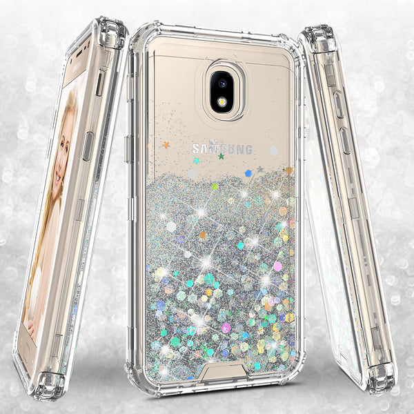 hard clear glitter phone case for samsung galaxy j3 2018 - clear - www.coverlabusa.com