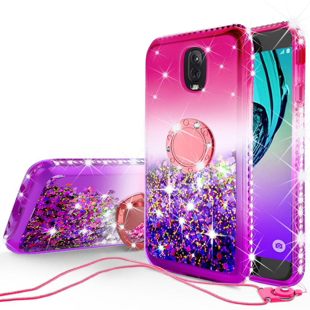 super popular 8fb01 5c7df Glitter Phone Case Kickstand Compatible for Samsung Galaxy J7 V 2nd Gen, J7  Crown, J7 Top, J7 2018 , J7 Star, J7 Achieve Case, Ring Stand Liquid ...