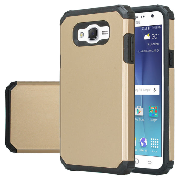 Samsung Galaxy J7 (Boost Mobile,Virgin,MetroPcs,T-Mobile) Dual Layered Slim Hybrid Case - Gold-www.coverlabusa.com