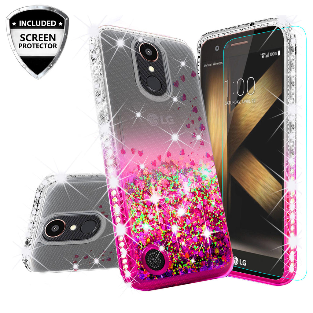 clear liquid phone case for lg k20 plus - hot pink - www.coverlabusa.com