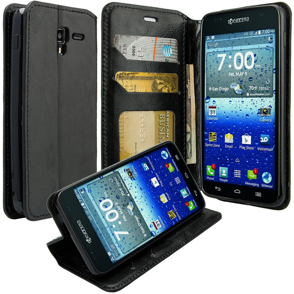 kyocera hydro view wallet case - black - www.coverlabusa.com