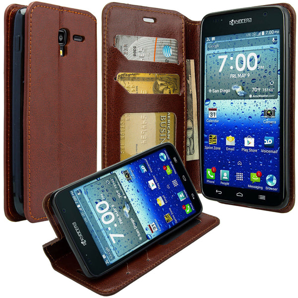 kyocera hydro view wallet case - brown - www.coverlabusa.com
