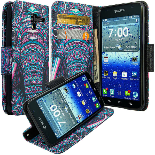 kyocera hydro view wallet case - tribal elephant - www.coverlabusa.com