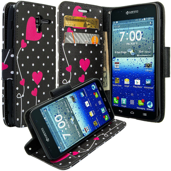 kyocera hydro view wallet case - polka dot hearts - www.coverlabusa.com