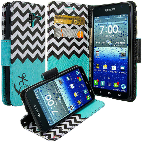 kyocera hydro view wallet case - teal anchor - www.coverlabusa.com