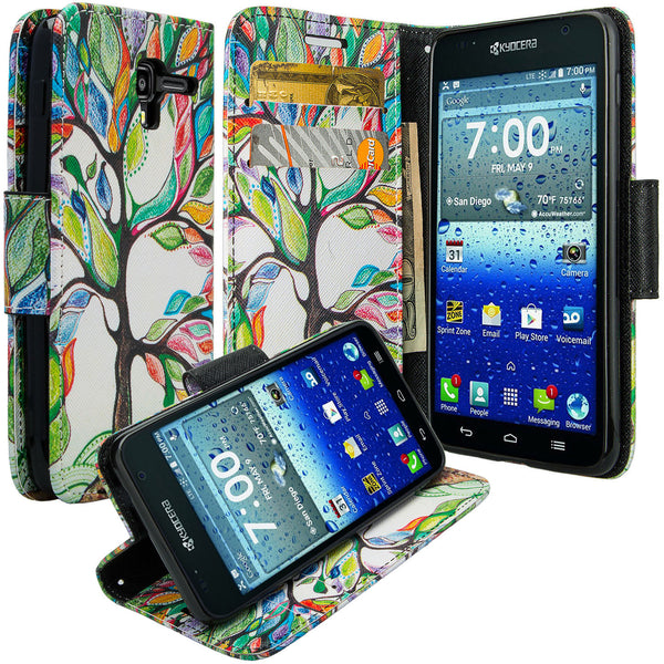 kyocera hydro view wallet case - colorful tree - www.coverlabusa.com