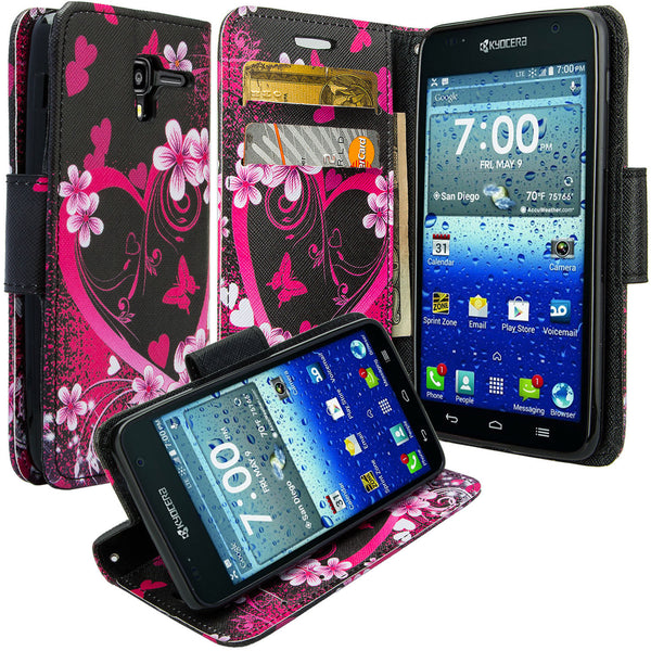 kyocera hydro view wallet case - heart butterflies - www.coverlabusa.com