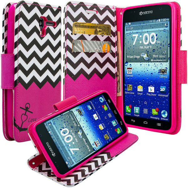 kyocera hydro view wallet case - hot pink anchor - www.coverlabusa.com