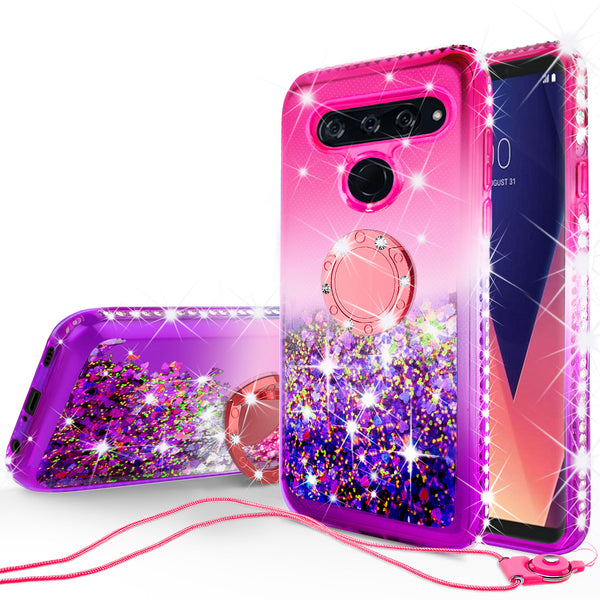 glitter ring phone case for lg v40 thinq - hot pink gradient - www.coverlabusa.com