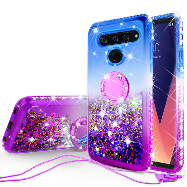 glitter ring phone case for lg v40 thinq - blue gradient - www.coverlabusa.com