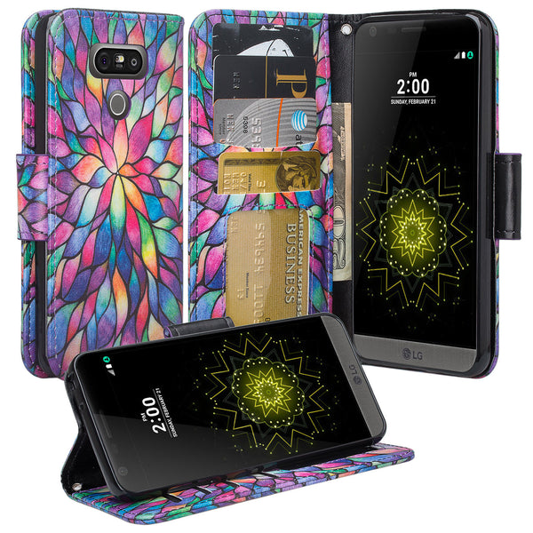 LG G6 Wallet Case - rainbow flower - www.coverlabusa.com