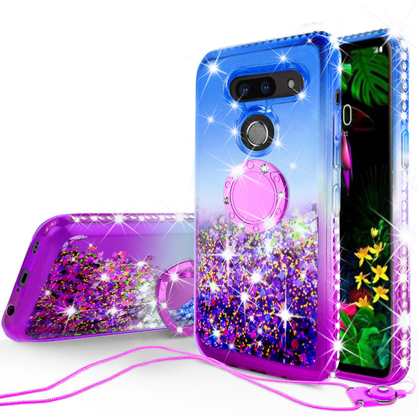 glitter ring phone case for lg g8 thinq - blue gradient - www.coverlabusa.com