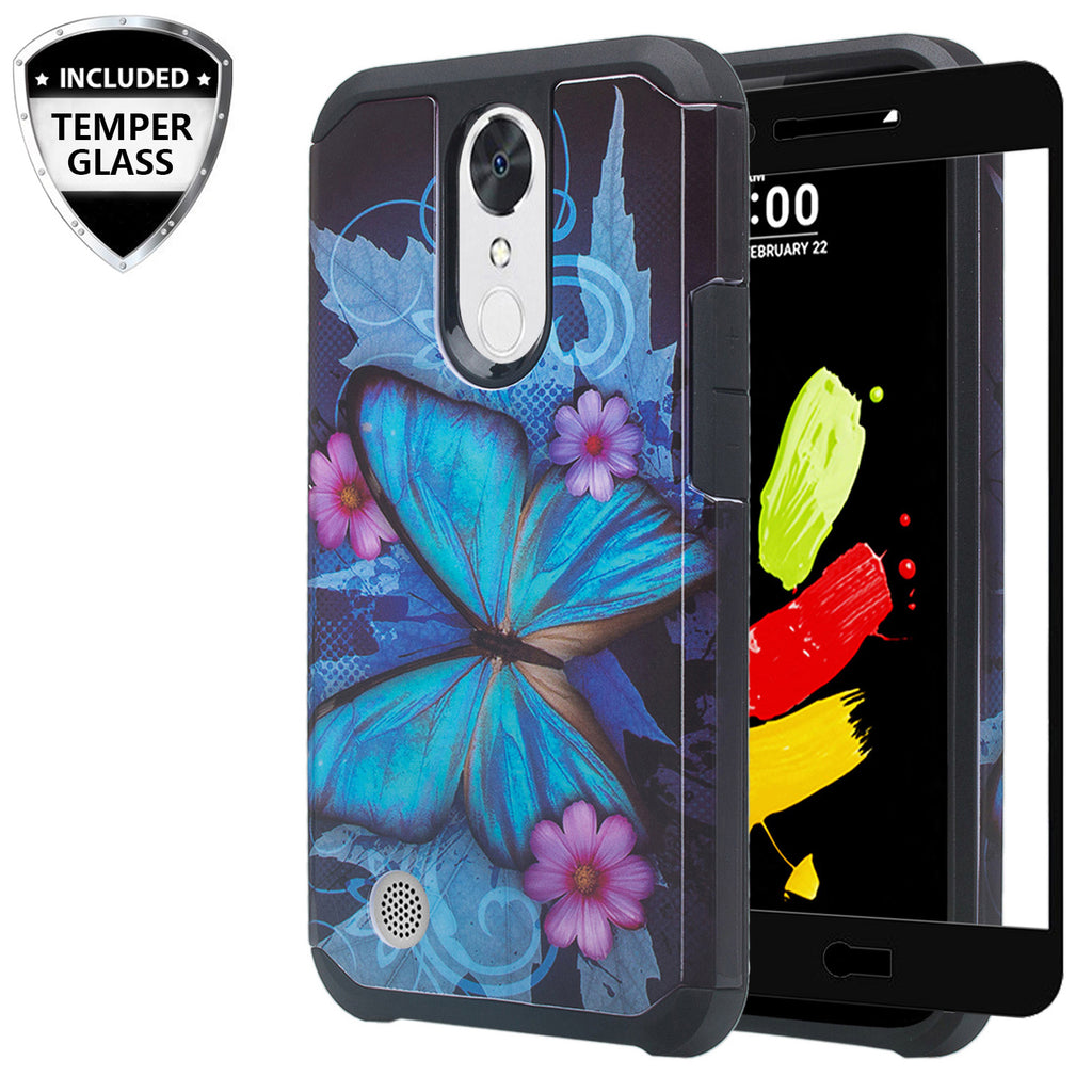 LG K20 Plus Case, LG K20 V Slim Hybrid Dual Layer - blue butterfly - www.coverlabusa.com