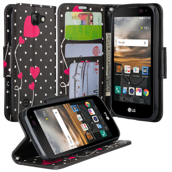 lg k3 wallet case - polka dot hearts - www.coverlabusa.com