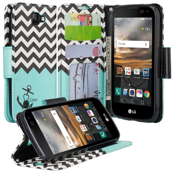 lg k3 wallet case - teal anchor - www.coverlabusa.com