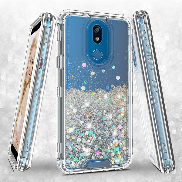 hard clear glitter phone case for lg k40 - clear - www.coverlabusa.com