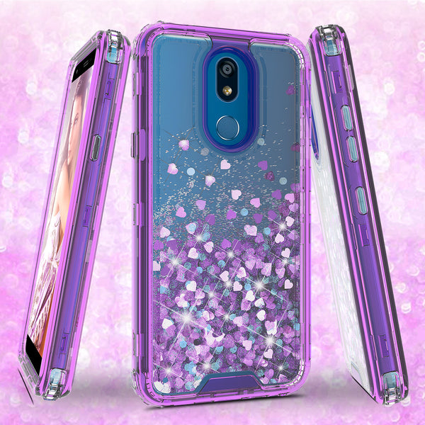 hard clear glitter phone case for lg k40 - purple - www.coverlabusa.com
