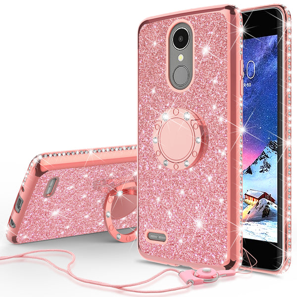 lg k20 plus, k20 v, harmony, k10 2017 glitter bling fashion case - rose gold - www.coverlabusa.com