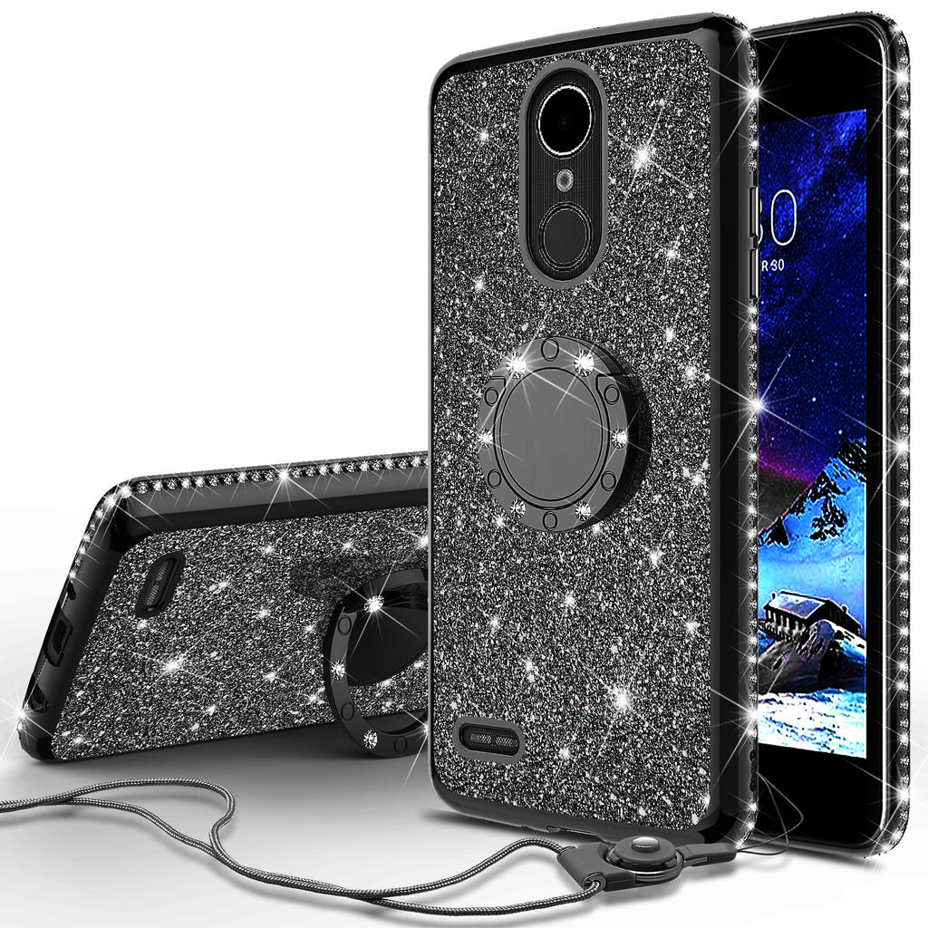 meet f5bbf 8d4b6 LG K20 Plus Case, LG K20 V, K10 2017, LG Harmony Case, Glitter Cute Phone  Case Girls with Kickstand,Bling Diamond Rhinestone Bumper Ring Stand  Sparkly ...