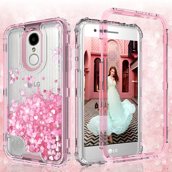 hard clear glitter phone case for lg aristo 3 - pink - www.coverlabusa.com