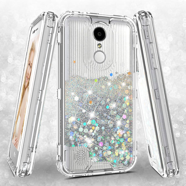 hard clear glitter phone case for lg aristo - clear - www.coverlabusa.com
