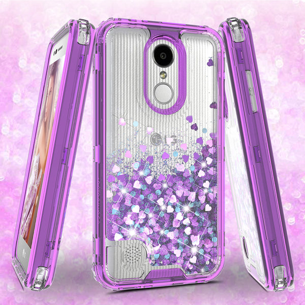 hard clear glitter phone case for lg aristo 3 - purple - www.coverlabusa.com