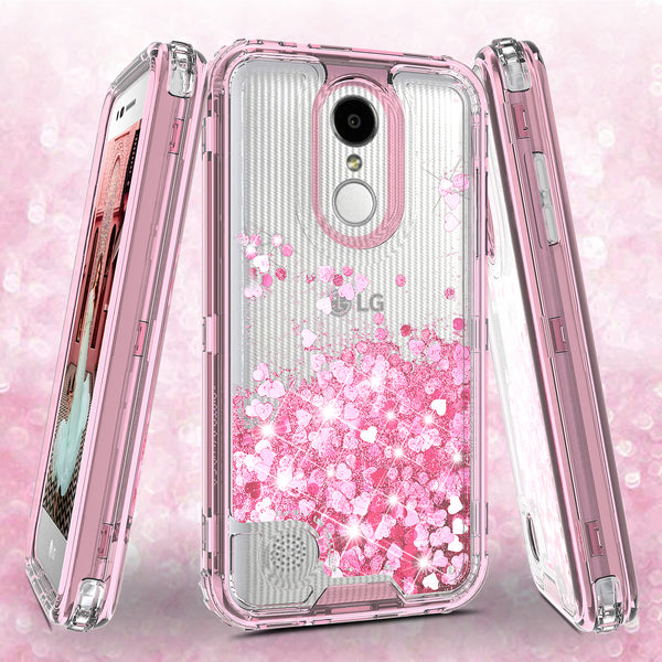 hard clear glitter phone case for lg aristo - pink - www.coverlabusa.com