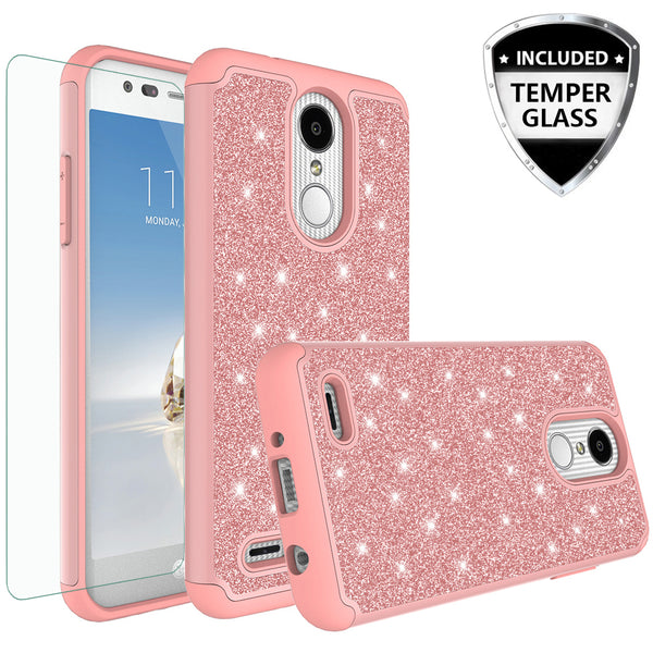 LG Aristo 2 Glitter Hybrid Case - Rose Gold - www.coverlabusa.com