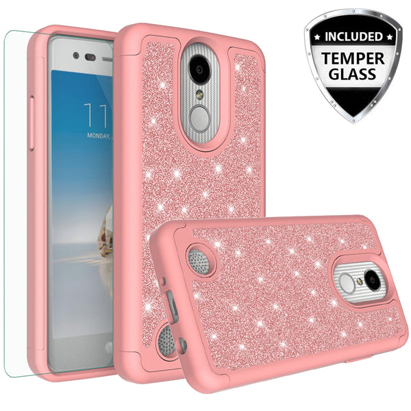 LG Aristo Glitter Hybrid Case - Rose Gold - www.coverlabusa.com