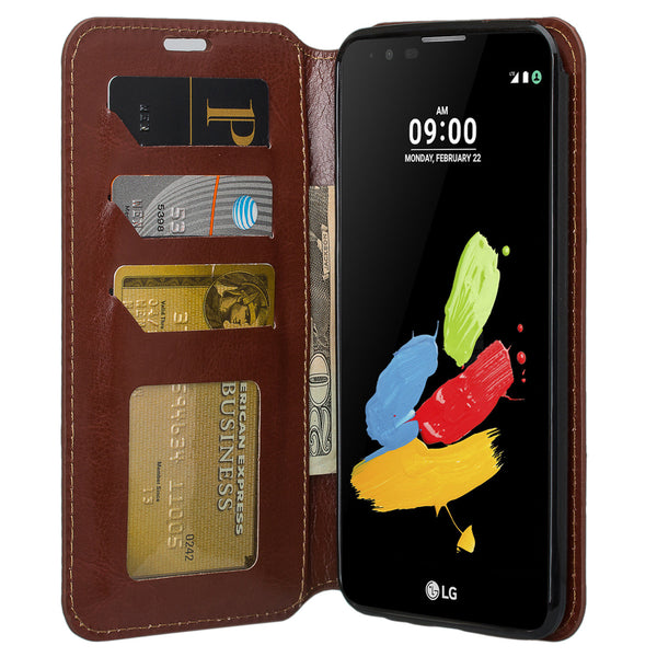 LG Stylo3 Wallet Case - brown - www.coverlabusa.com