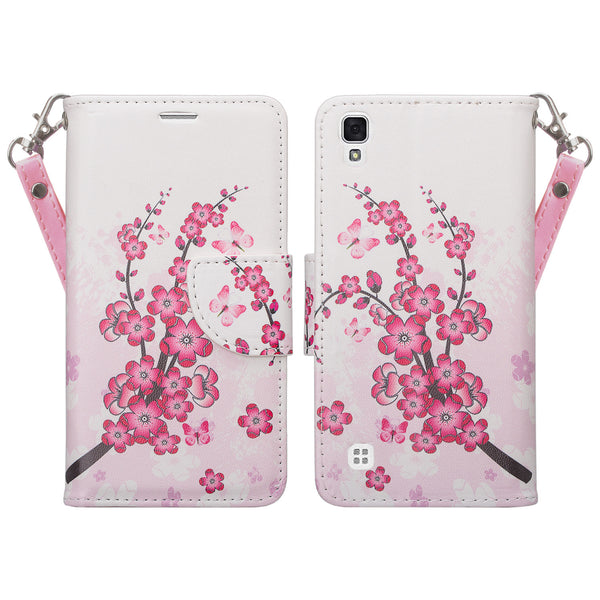 the best attitude df2f5 e8f43 LG Tribute HD | X Style | Volt 3 Case, Wrist Strap Pu Leather Magnetic Flip  Fold[Kickstand] Wallet Case with ID & Card Slots - Cherry Blossom