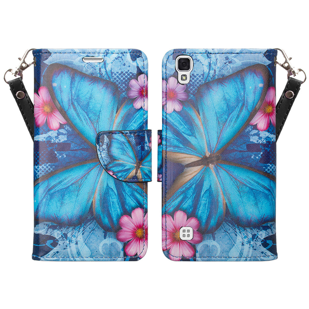 lg tribute hd cover,tribute hd wallet case - blue butterfly - www.coverlabusa.com