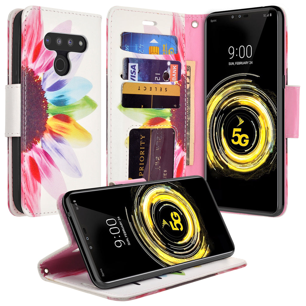 Stylish Luxury 3D Special Effects Day of Beautiful Pattern Stand PU Leather Case with Soft TPU Herzzer Wallet Leather Case for LG V50 ThinQ,Strap Flip Cover for LG V50 ThinQ