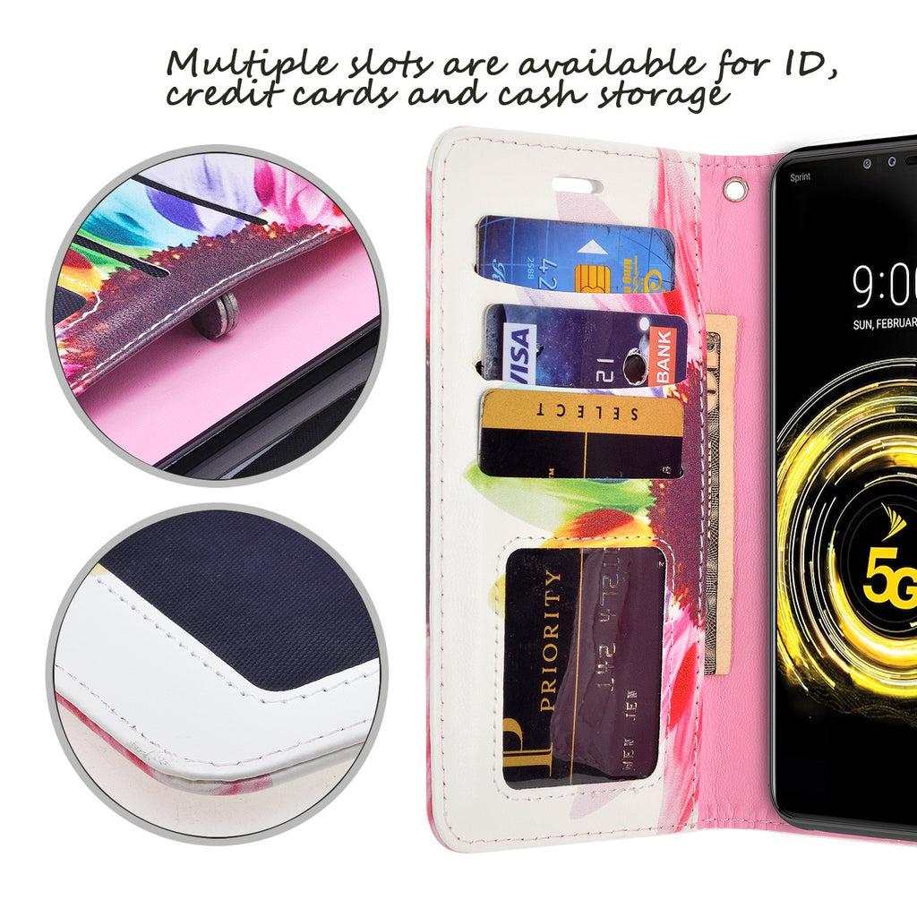 LG G8 ThinQ Case,LG G8 Case,Wallet Case for LG G8,Printed Design Folio Flip PU Leather Protective Phone Case Cover with Card Holder Slot Pocket Magnetic for LG G8 ThinQ,Gold Butterfly
