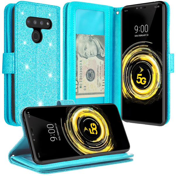LG G8 ThinQ Glitter Wallet Case - Teal - www.coverlabusa.com