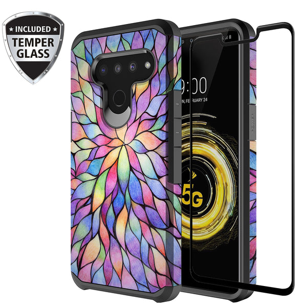 lg v50 thinq hybrid case - rainbow flower - www.coverlabusa.com
