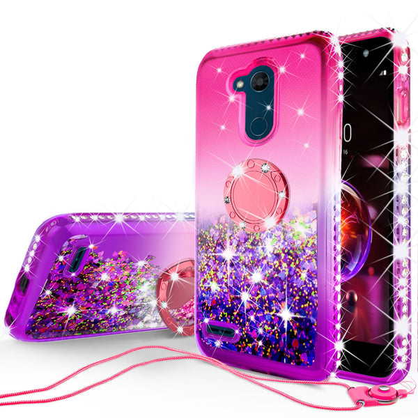 glitter ring phone case for lg x power 3 - hot pink gradient - www.coverlabusa.com