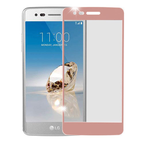lg aristo screen protector, lg aristo full temper glass - rose gold - www.coverlabusa.com