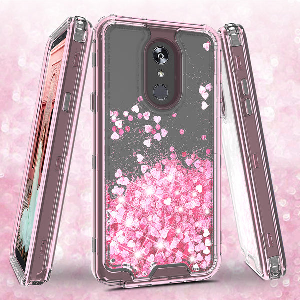 hard clear glitter phone case for apple lg stylo 4 - pink - www.coverlabusa.com