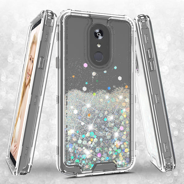hard clear glitter phone case for apple lg stylo 4 - clear - www.coverlabusa.com