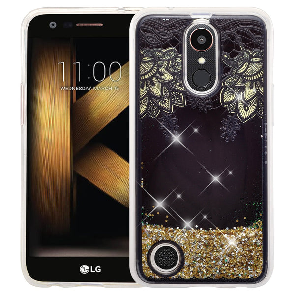 LG Aristo | K8 (2017) | Phoenix 3 | K4 2017 liquid sparkle quicksand case - gold lace - www.coverlabusa.com