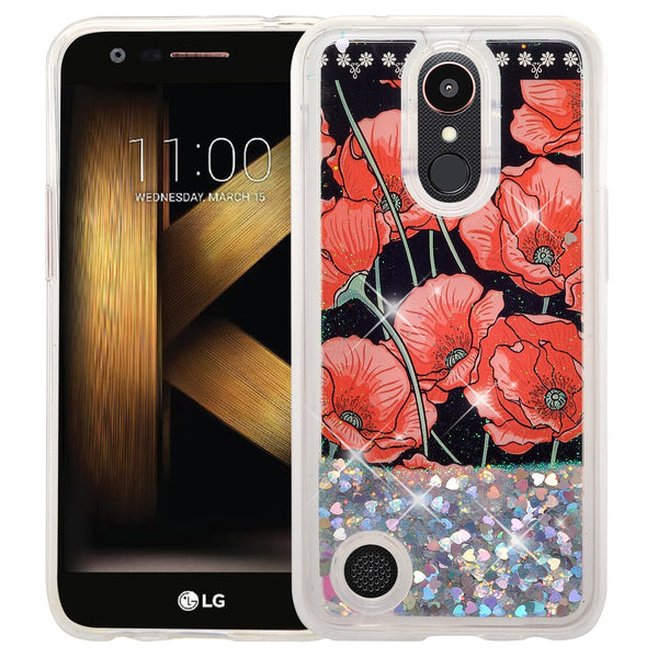 LG Aristo | K8 (2017) | Phoenix 3 | K4 2017 liquid sparkle quicksand case - red roses - www.coverlabusa.com